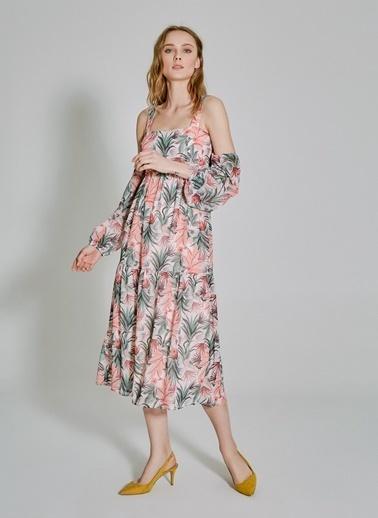 People By Fabrika Kol Detaylı Desenli Elbise Pembe